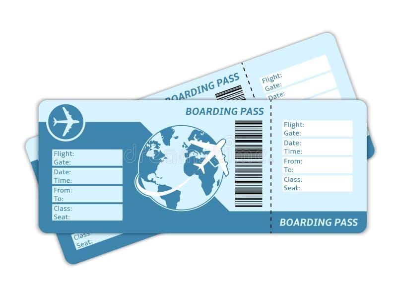 Billetes de avión en blanco ilustración del vector