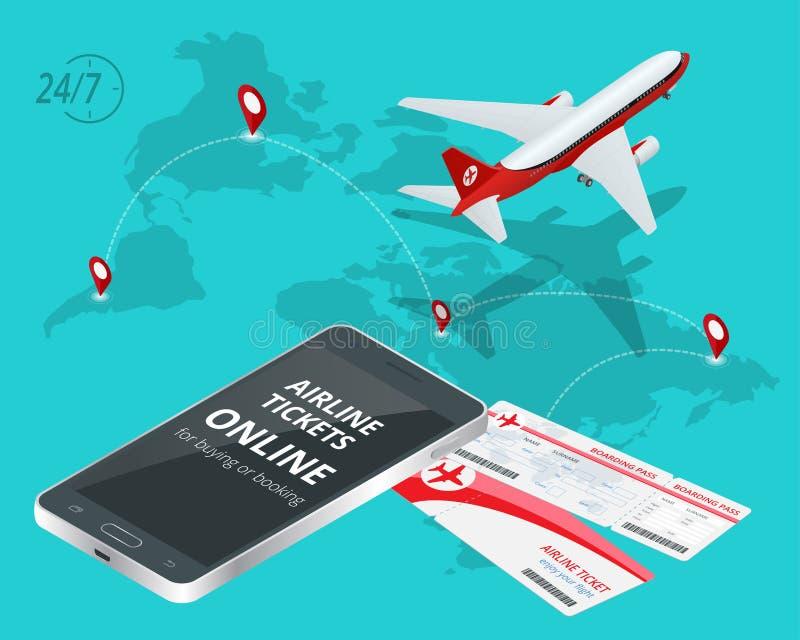 Billetes de avión en línea Billetes de avión de compra o de reservación Viaje, vuelos del negocio por todo el mundo App en línea  ilustración del vector
