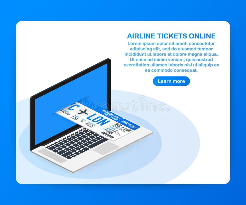 Billetes de avión en línea Boleto en línea de compra o de reservación Viaje, vuelos del negocio por todo el mundo Ilustración del libre illustration