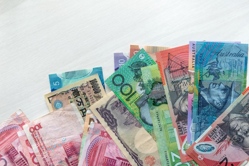 Billetes de banco, Australia, China, Japón y Canadá mezclados imágenes de archivo libres de regalías