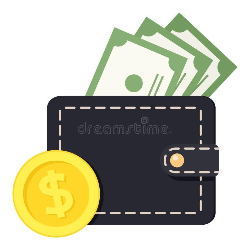 Billetes de banco de la cartera y icono plano de la moneda de oro libre illustration