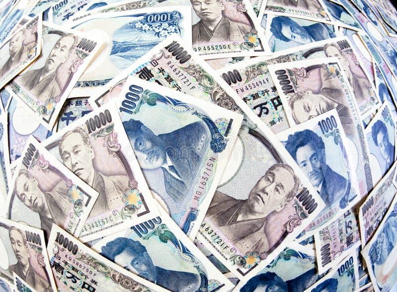 Billetes de banco de los Yenes del dinero en circulación japonés imagen de archivo libre de regalías