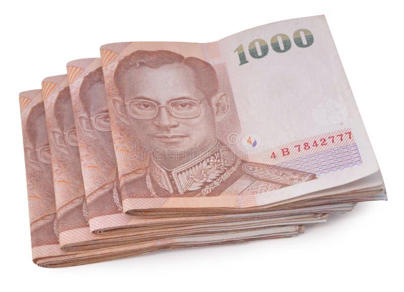 Billetes de banco de Tailandia en el fondo blanco imagen de archivo