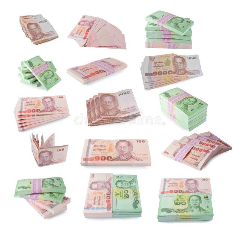 Billetes de banco de Tailandia en el fondo blanco fotografía de archivo libre de regalías