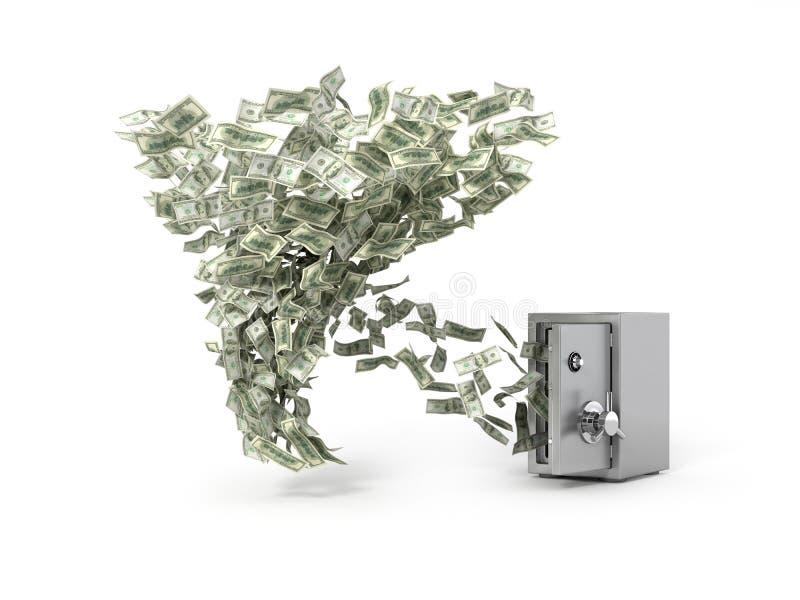 Billetes de banco del dólar de la toma del torbellino del dinero de la caja fuerte stock de ilustración