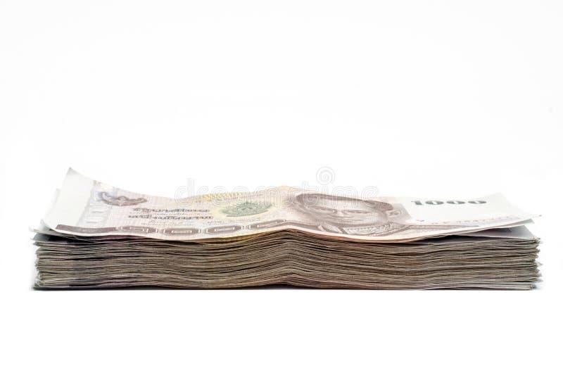 Billetes de banco del dinero de Tailandia aislados imagenes de archivo