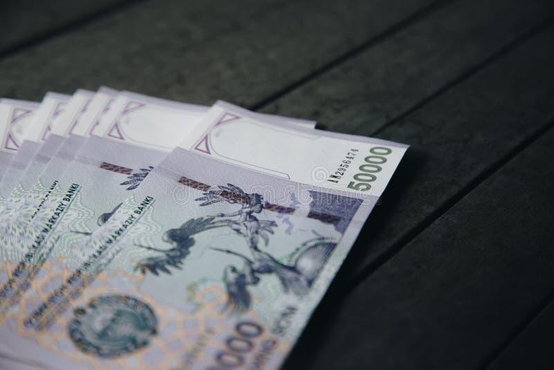 Billetes de banco del Uzbek Cincuenta mil sumas del Uzbek fotografía de archivo libre de regalías