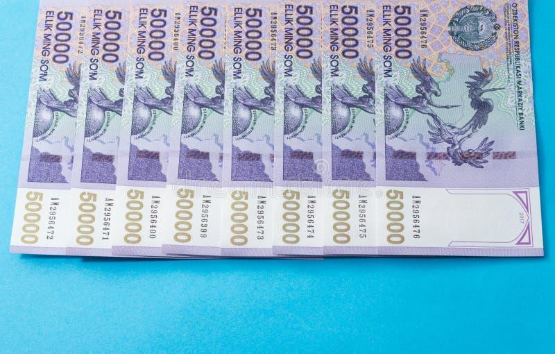 Billetes de banco del Uzbek Cincuenta mil sumas del Uzbek imagenes de archivo