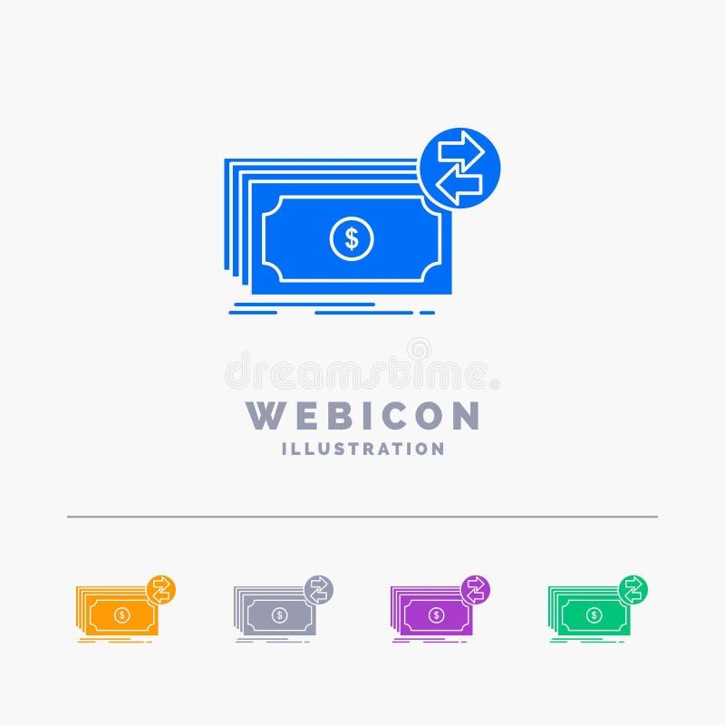 Billetes de banco, efectivo, dólares, flujo, plantilla del icono de la web del Glyph del color del dinero 5 aislada en blanco Ilu ilustración del vector