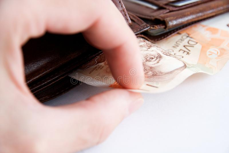 Billetes de banco en cartera fotografía de archivo