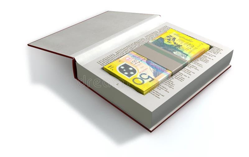 Billetes de banco encubiertos del dólar australiano en un frente del libro fotografía de archivo libre de regalías