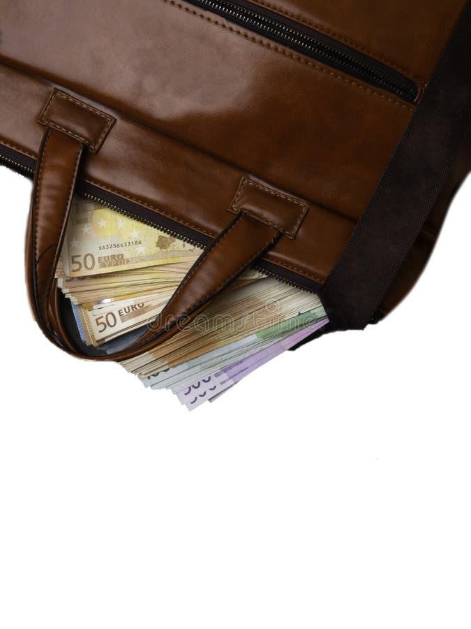 Billetes de banco euro del dinero en la maleta aislada en la opinión superior del fondo blanco imágenes de archivo libres de regalías