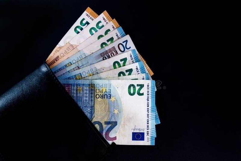 Billetes de banco euro del valor del dinero, sistema de pago de la unión europea foto de archivo libre de regalías