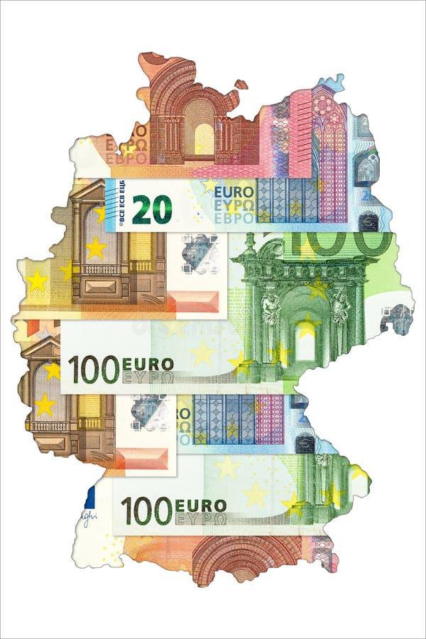 Billetes de banco euro en la forma de Alemania libre illustration