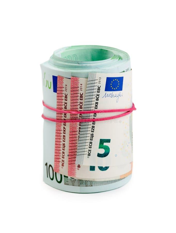 Billetes de banco euro en rollos fotografía de archivo
