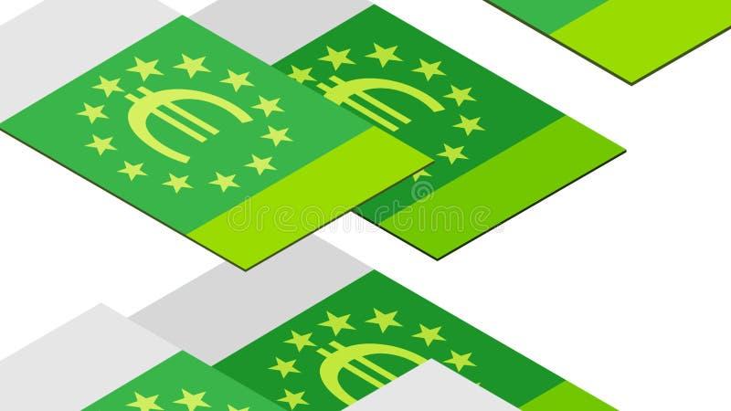 Billetes de banco euro que caen en una pila en un fondo blanco, isométrico, aislado ilustración del vector