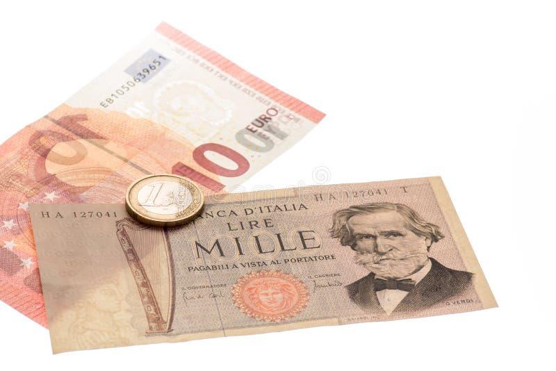 Billetes de banco italianos del vintage y dinero euro imágenes de archivo libres de regalías