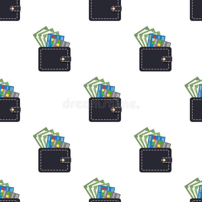 Billetes de banco de las tarjetas de crédito de la cartera inconsútiles stock de ilustración