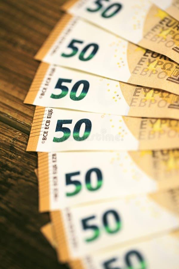 50 billetes de banco de los euros fotografía de archivo
