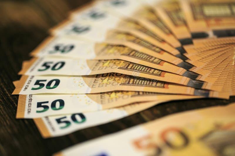 50 billetes de banco de los euros imagen de archivo libre de regalías