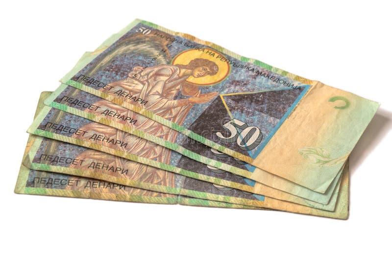 Billetes de banco macedónicos del dinero en circulación - frente foto de archivo libre de regalías
