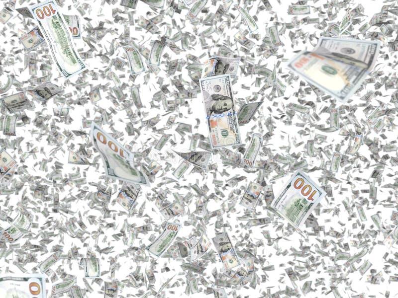 Billetes de banco que caen aislados en el fondo blanco libre illustration