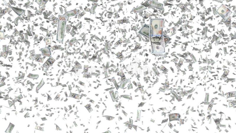 Billetes de banco que caen aislados en el fondo blanco ilustración del vector