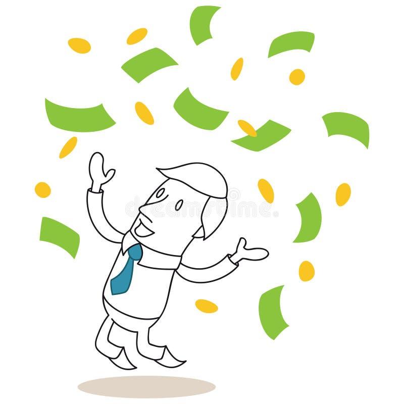 Billetes de banco que lanzan del hombre de negocios para arriba ilustración del vector