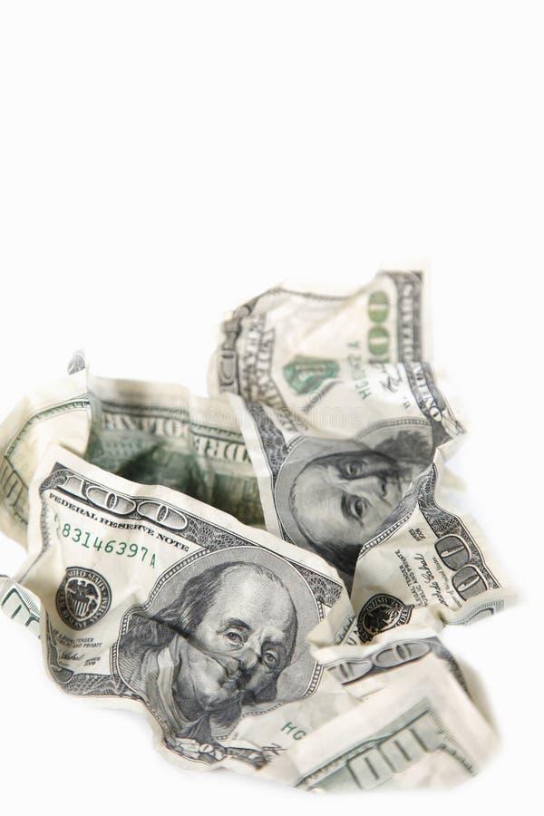Billetes de banco Rumpled del dólar fotografía de archivo