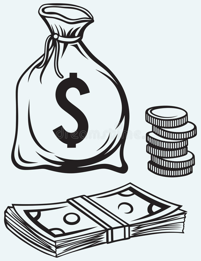 Billetes de banco, talega y monedas de los dólares de la pila ilustración del vector