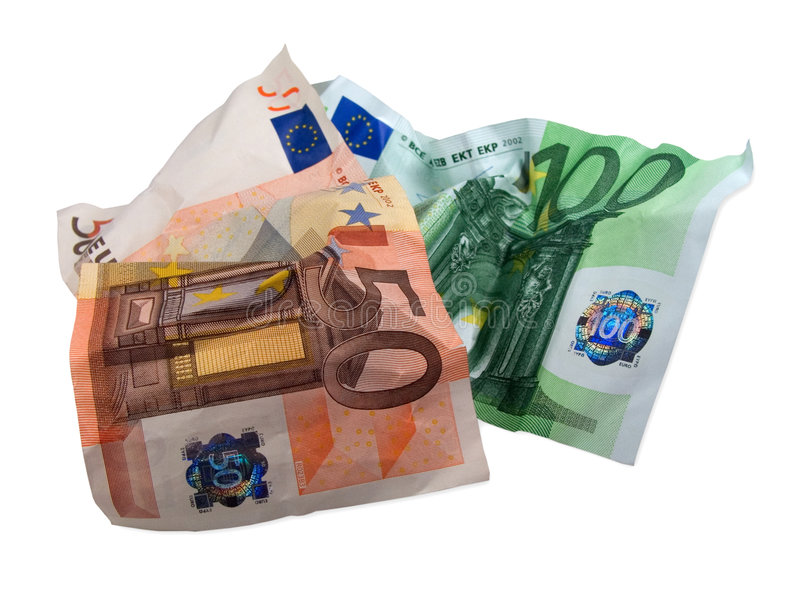 Billetes de banco usados del EUR foto de archivo