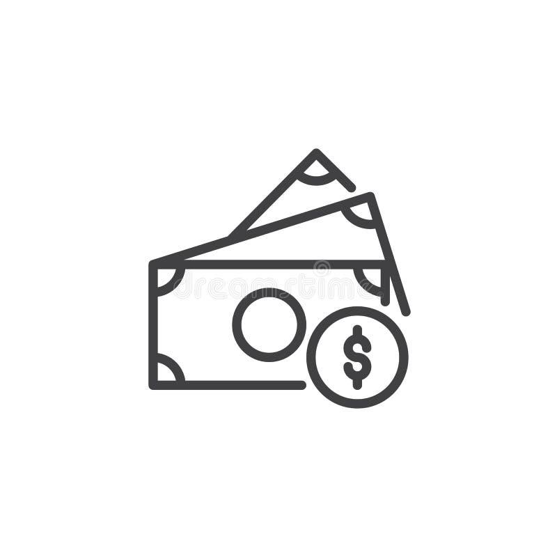 Billetes de dólar e icono del esquema de la moneda ilustración del vector