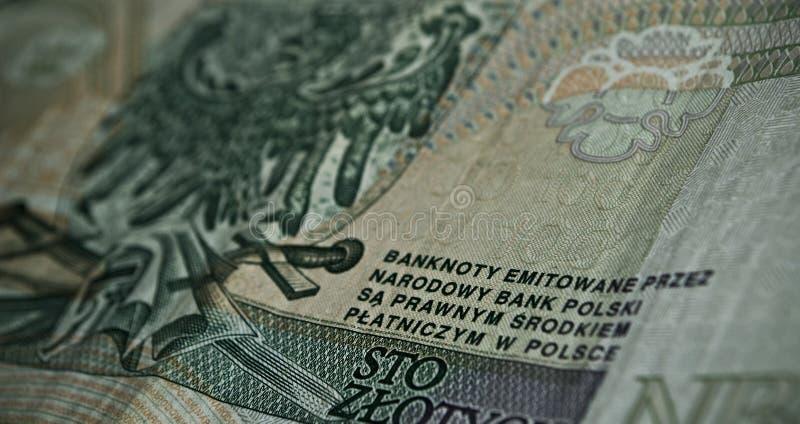 Billetes o billetes de banco polacos imagen de archivo