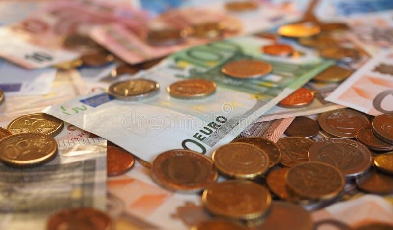 Billetes y monedas euro, UE del EUR de la unión europea fotos de archivo