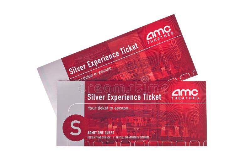Billets argentés de salle de cinéma d'AMC d'expérience image libre de droits