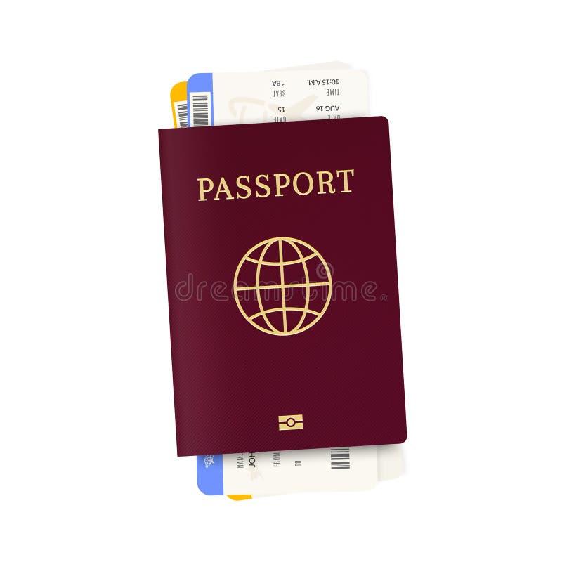 Billets biom?triques de passeport et d'avion illustration libre de droits