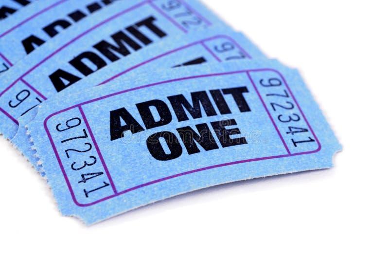 Billets bleus d'admission photo stock