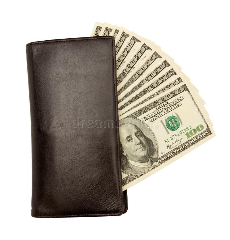Billets d'un dollar États-Unis dans la bourse en cuir photo libre de droits