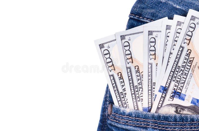 Billets d'un dollar américains dans la poche de jeans photo libre de droits