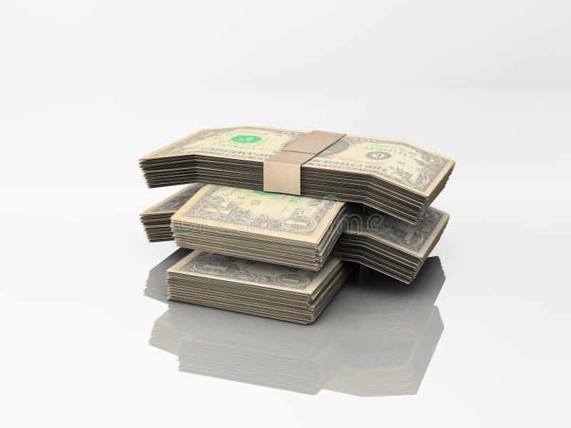 Billets d'un dollar sur le blanc illustration libre de droits