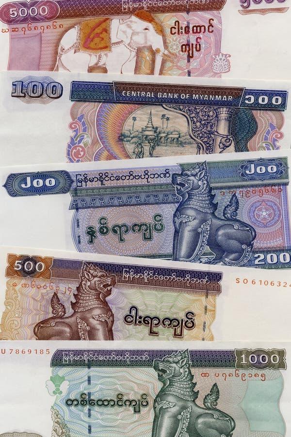 Billets de banque birmans - Myanmar image libre de droits