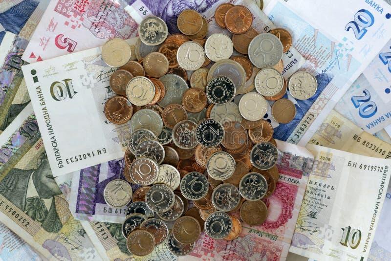 Billets de banque bulgares d'argent de lev image libre de droits