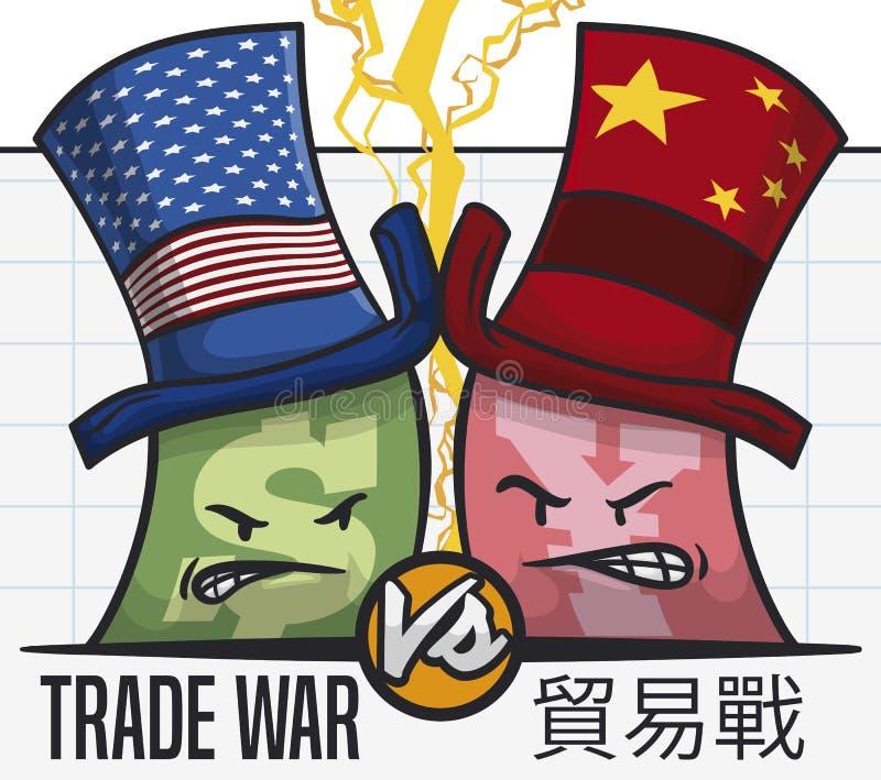 Billets de banque combattant dans la guerre commerciale due de statistiques entre U S a et la Chine, illustration de vecteur illustration de vecteur
