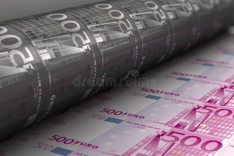 Billets de banque d'euro d'impression illustration libre de droits