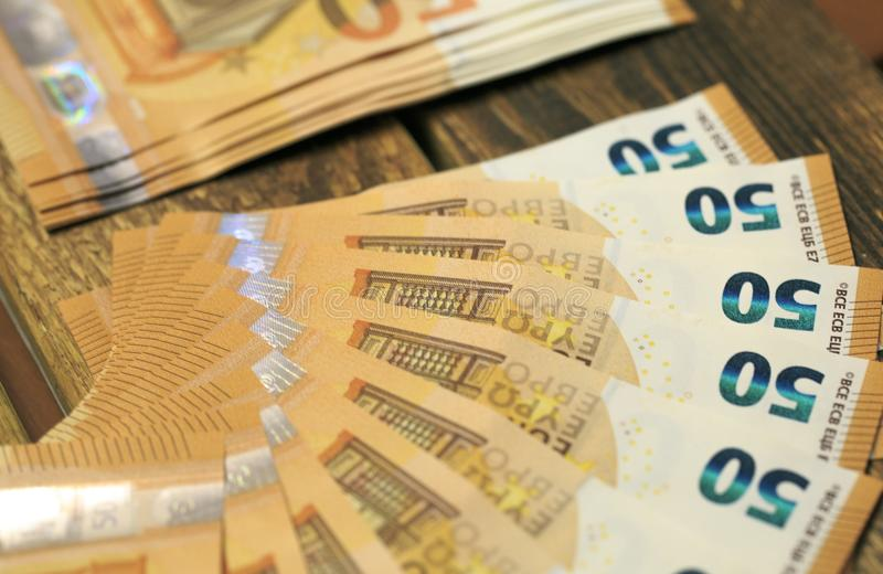 50 billets de banque d'euros photographie stock libre de droits