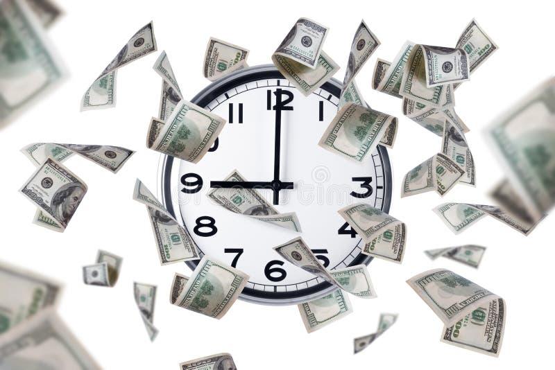 Billets de banque d'horloge murale et de dollar photos libres de droits