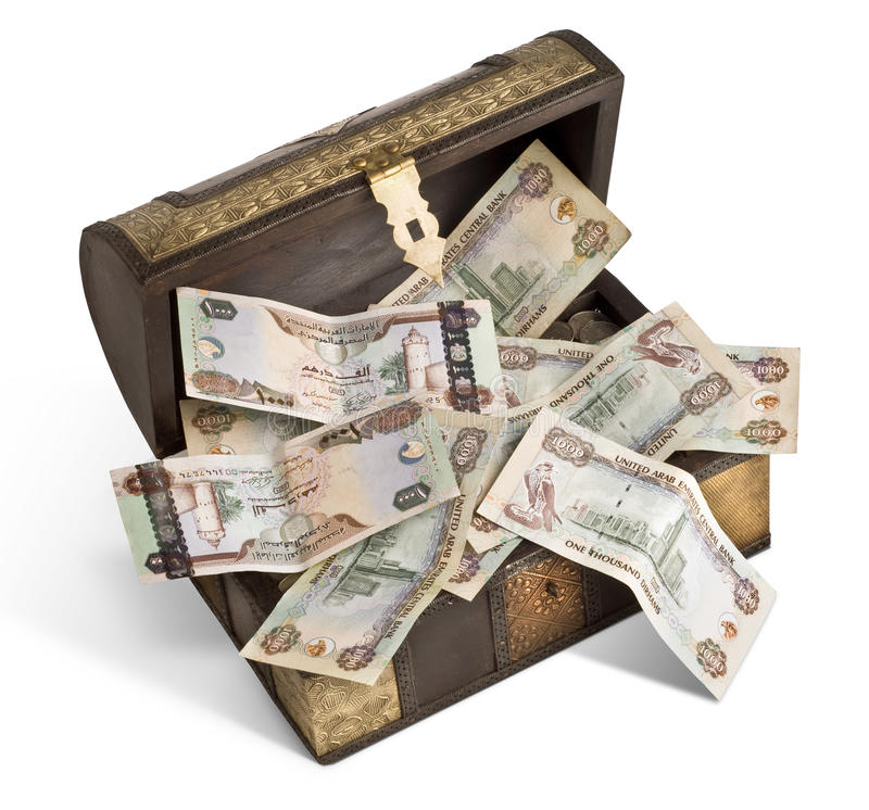 Billets de banque de dirham des EAU dans un trunk_1 images libres de droits
