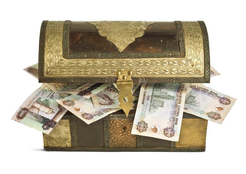 Billets de banque de dirham des EAU dans un trunk_2 photographie stock libre de droits