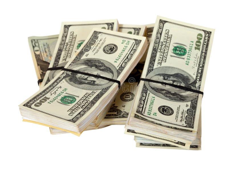 Billets de banque de dollars US. D'isolement sur le blanc photographie stock