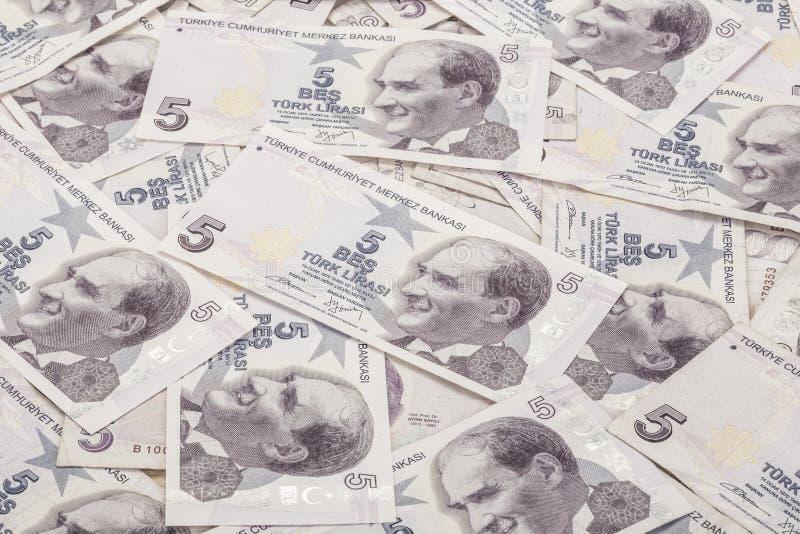 Billets de banque de Lire turque comme fond images libres de droits
